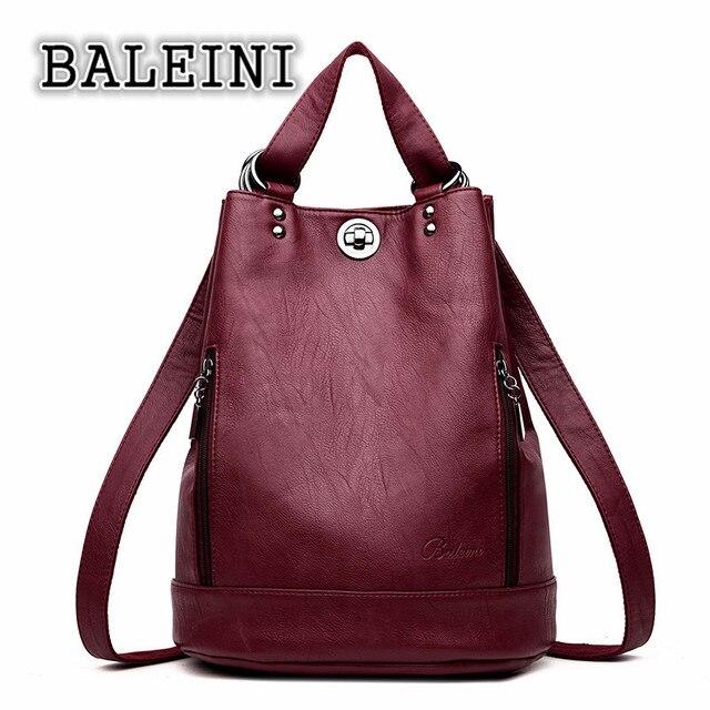 BALEINI 2018 Women Backpack High Quality Leather Women Bag Bucket Shoulder  Bags Solid Big Set Large d36a8b5993bad