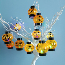 12pcs/lot Halloween Lights Decoration Mini Pumpkin Led Hanging Lantern Colorful Flickering Decorative Kid(Battery Not Included)