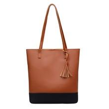 Womens  2018 spring new European and American bucket color tassel shoulder handbag