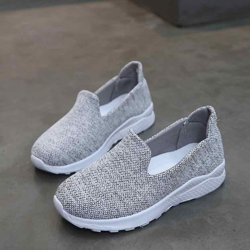 Kadın kanvas ayakkabılar düz ayakkabı kaymaz ayakkabı yürüyüş ayakkabısı hafif Dropshipping 0815