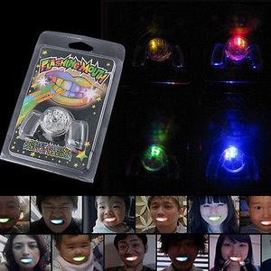 Image 2 - 2017 Flashing LED Light Up Mouth Braces Piece Glow Teeth Halloween Party Glow Tooth Light Up Mouthpiece Rave