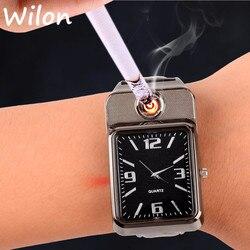 Relógio de pulso mais leve esportes à prova de vento flameless cigarro isqueiro masculino masculino relógio de quartzo casual de carregamento usb f777