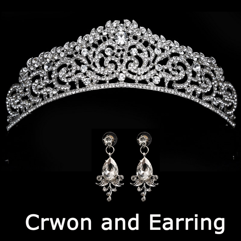 HTB1UT7NjRmWBuNkSndVq6AsApXaN Bridal Wedding Tiara Headband with Earrings