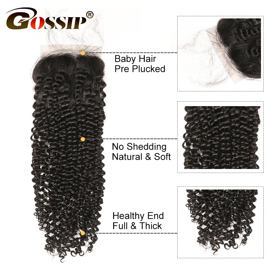Image 3 - Kinky Curly Closure 4x4 Silk Base Closure With Baby Hair Human Hair Brazilian Closure Pre Plucked Gossip Remy Hair Extension-in Closures from Hair Extensions & Wigs