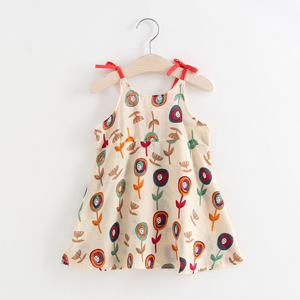 ARLONEET 2019 New Summer Babys Dress  Toddler Infant Baby Girls Cartoon Floral Sleeveless Strap Princess Dress Outfits Z0207