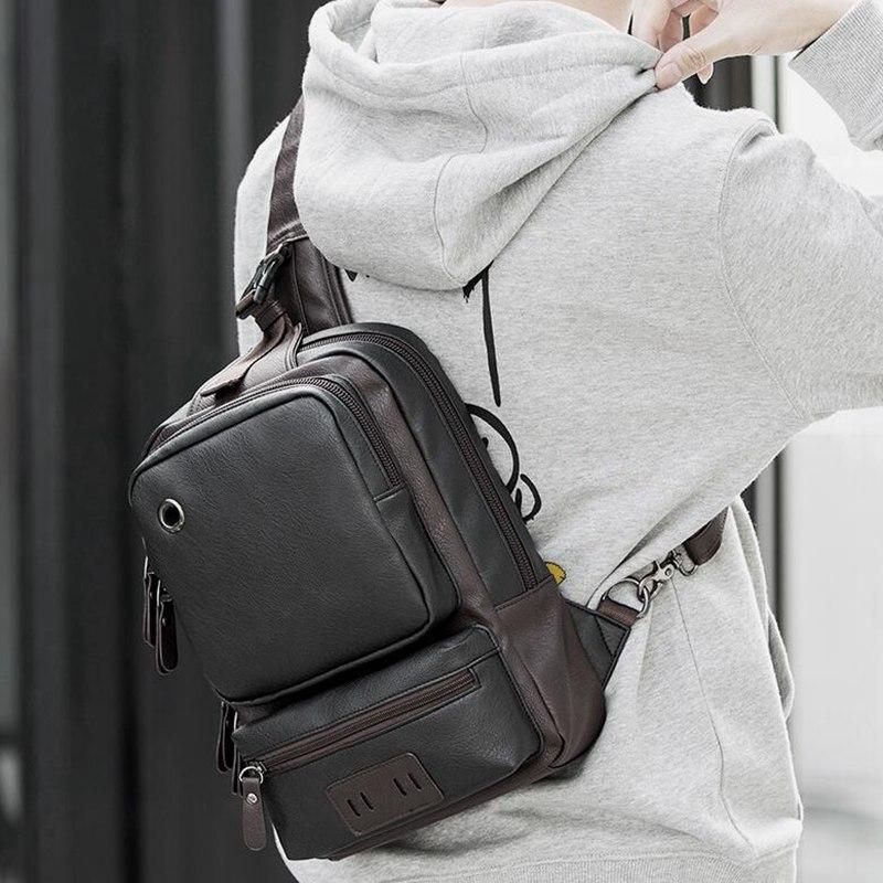 Image 2 - Brand Men's Shoulder Bag Vintage Men Crossbody Bag Men Chest Bags Casual Fashion PU Leather Men Messenger Bag L51-in Crossbody Bags from Luggage & Bags