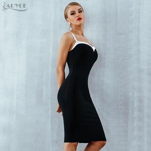 Image 5 - Adyce 2020 Summer Bodycon Bandage Dress Women VestidosSexy Strapless Black&White Midi Runway Celebrity Evening Party  Club Dress