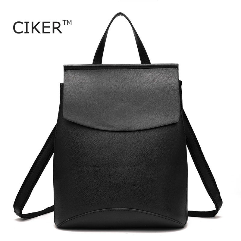 CIKER Famous brands women leather backpacks New high quality travel bags cute school bags for teenage girls book bag mochila ciker new preppy style 4pcs set women printing canvas backpacks high quality school bags mochila rucksack fashion travel bags