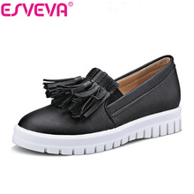 ESVEVA Hot Sale Tassel Platform Round Toe Women Pumps Solid Pu Slip On Autumn/Spring Girls Party Shoes Size 34-43 Black