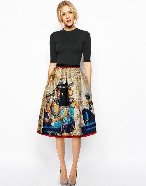 2016 новое поступление женщин мода в складку миди юбки египет ретро рисунок 3D печать плиссированные высокой талией Harajuku старинные юбки