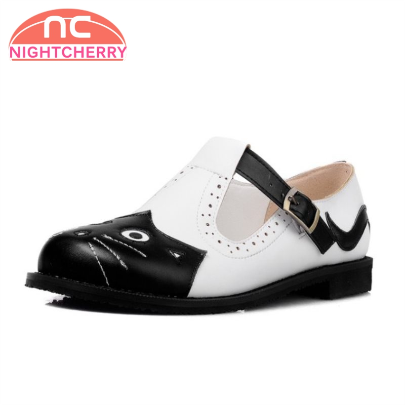 NIGHTCHERRY Size 31-43 Women Sweet Flats Shoes Woman Ankle Strap Print Cat Round Toe Flats Shoes Woman Daily Club Footwear rizabina concise women sneakers lady white shoes female butterfly cross strap flats shoes embroidery women footwear size 36 40