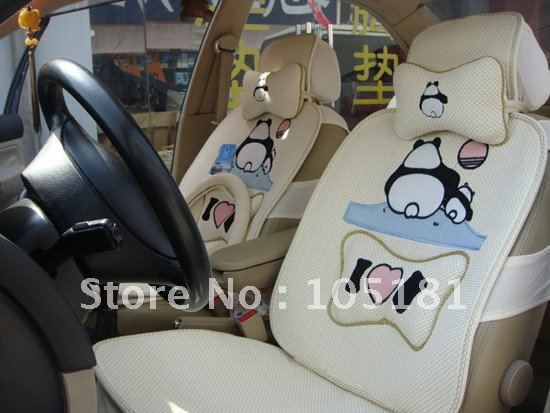 Dummy Panda Auto Seat Cover Car Cushion 8 Pcs Set Wholesale