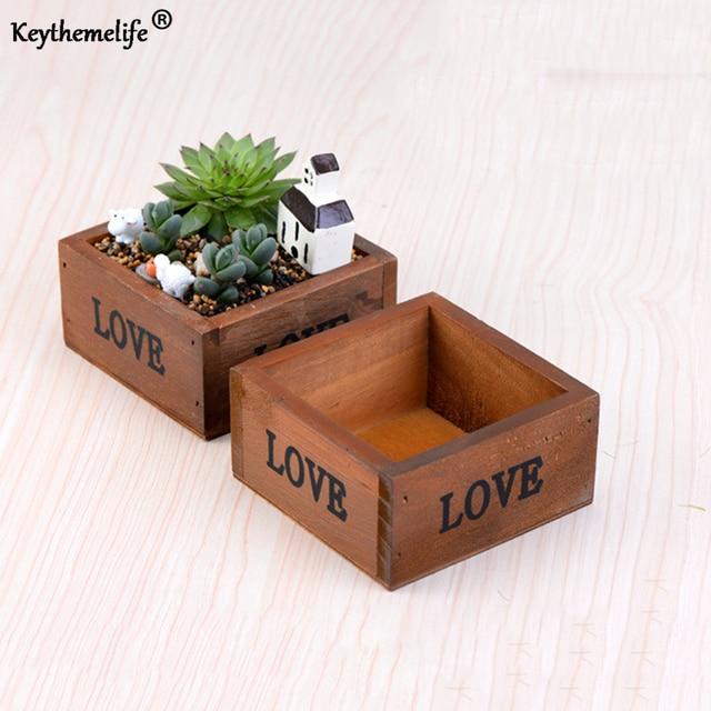 Keythemelife Wood Flowerpot Simulation Succulent Pots Production of Desktop Micro Landscape Moss Succulents DIY Decoration D1