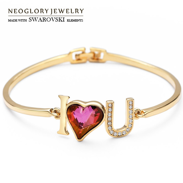 Neoglory Austria Crystal   Czech Rhinestone Bangle I Love You Heart Design Light  Yellow Gold Color ddfd3c409644