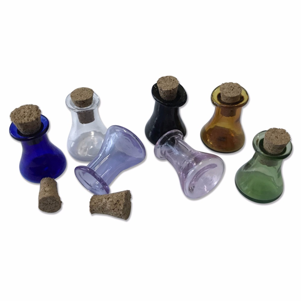 Mini Glass Color Flask Bottles Model Cute Bottles With Cork Little Flat Bottom Winebottle Gift Tiny Jars Vials Mix 7Colors