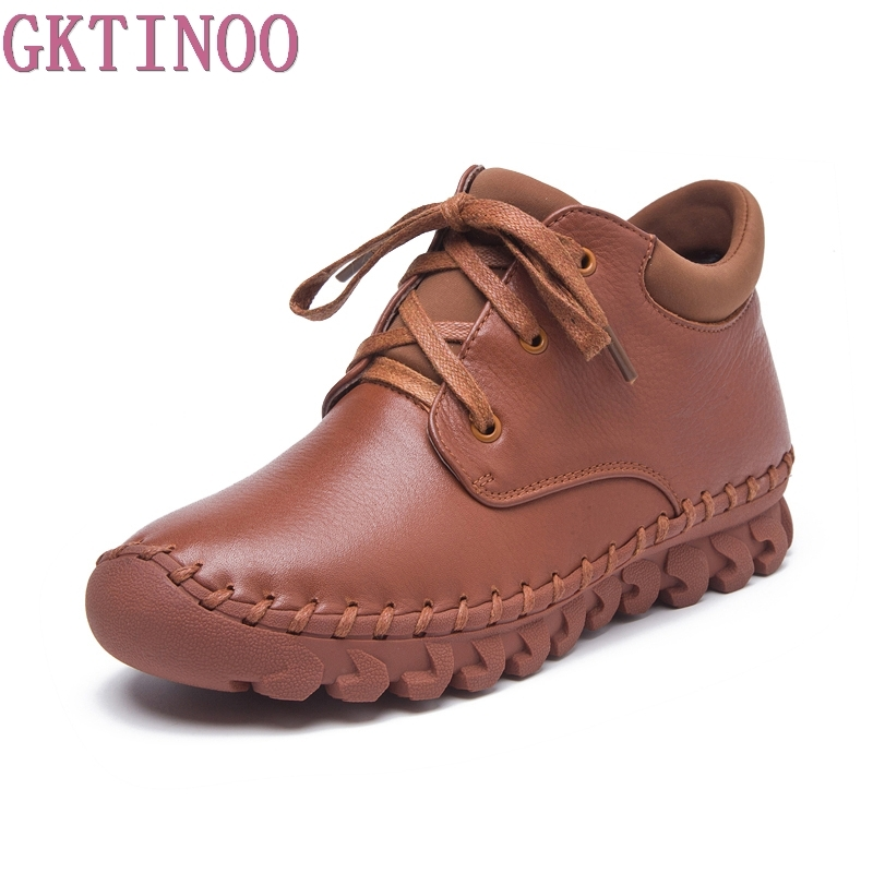 2017 New Women Shoes Female Genuine Leather Boots Handmade Autumn Winter Ankle Lace-Up Fashion Boots autumn and winter new personality retro cowhide ankle boots handsome female waterproof platform genuine leather women shoes 9731