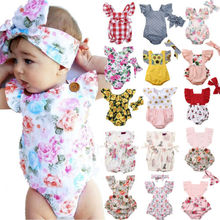 AU Stock Newborn Baby Girls Flower Bodysuit Jumpsuit 2PCS Outfit Clothes