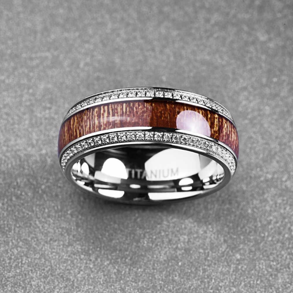 كريستال الزركون الفولاذ المقاوم للصدأ الدائري للرجال أكاسيا الخشب التيتانيوم الصلب المفصل الدائري للرجال خواتم الزفاف مجوهرات