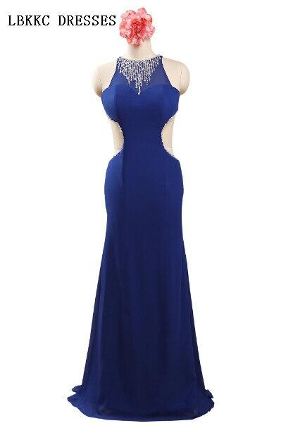 Backless Sexy Chiffon Beaded Long Royal Blue Prom Dresses Vestido Longo Azul Plus Size Accpeted,PD031