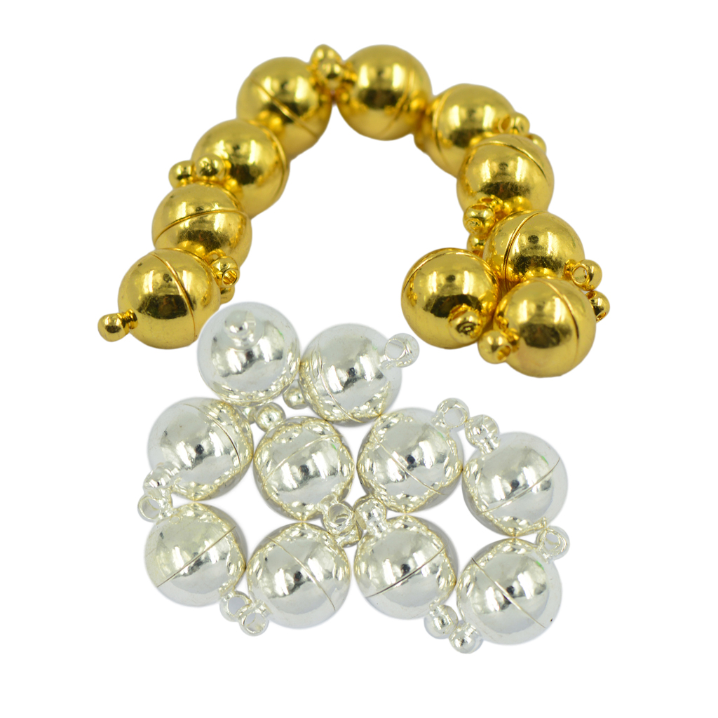 20pcs Pearl Necklace Bracelet Round Magnetic Clasps Jewelry Making Findings