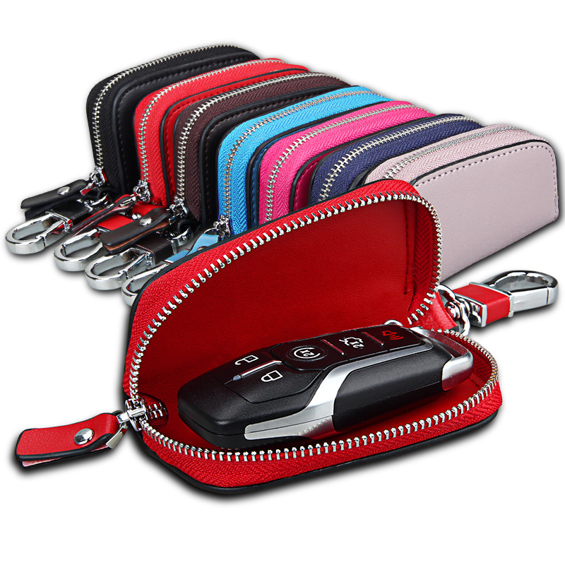 Hot sale genuine leather keys wallet for women designer car key holder bag brand fashion housekeeper key organizer Keychain case