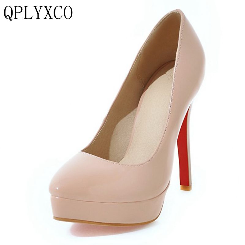 QPLYXCO 2017 New Big Size 30-48 Women Shoes Pumps High Heeled(12cm) Women Fashion Office Patry Shoes Platform Pointed Toe Y-17 qplyxco 2017 new sale ladys big size 30 47 shoes women pumps fashion sexy high heels shoes party wedding pointed toe shoes a 3