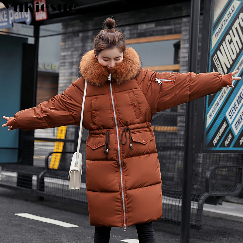 Warm Big Fur Hooded Quilted Coat Winter Jacket Woman 2018 Fashion Solid Color Zipper Down Cotton   Parka   Plus Size Slim Outwear