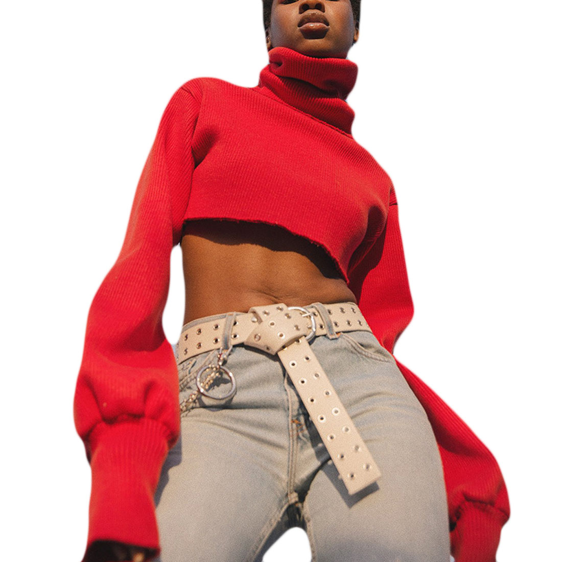 Winter Christmas Red Full Knitted Sweater Women Crop Top Knitwear Female Sexy Cropped Knit Sweater Pullovers Feminino jersey