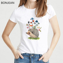 women clothes 2019 cute butterfly mushrooms Hedgehog t shirt femme white summer top female animal print tshirt drop shipping(China)