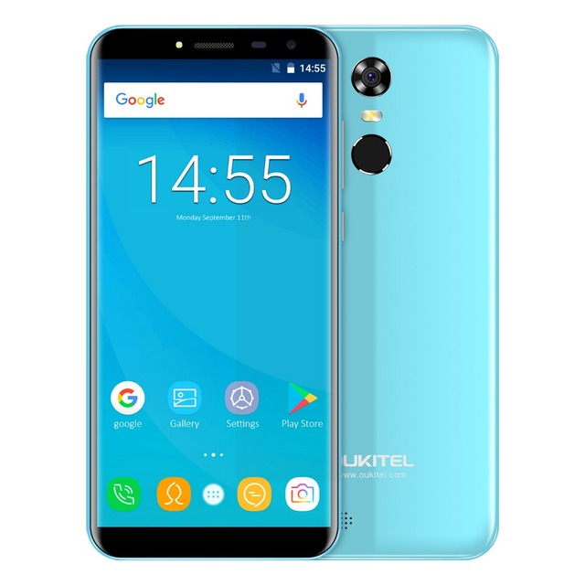 Oukitel C8 5.5″ 18:9 Infinity Display Android 7.0 MTK6580A Quad Core Smartphone 2G RAM 16G ROM 3000mAh Fingerprint Mobile Phone