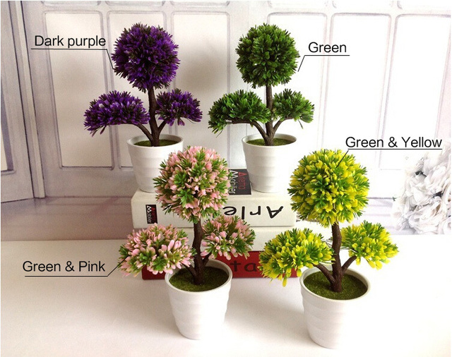 Artificial flower Sakura snow Desktop green plant Mini bonsai tree home  decor potted plants