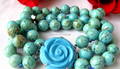 "shitou 00299 beautiful 3strands 8"" 10mm nature round turquoise bracelet"