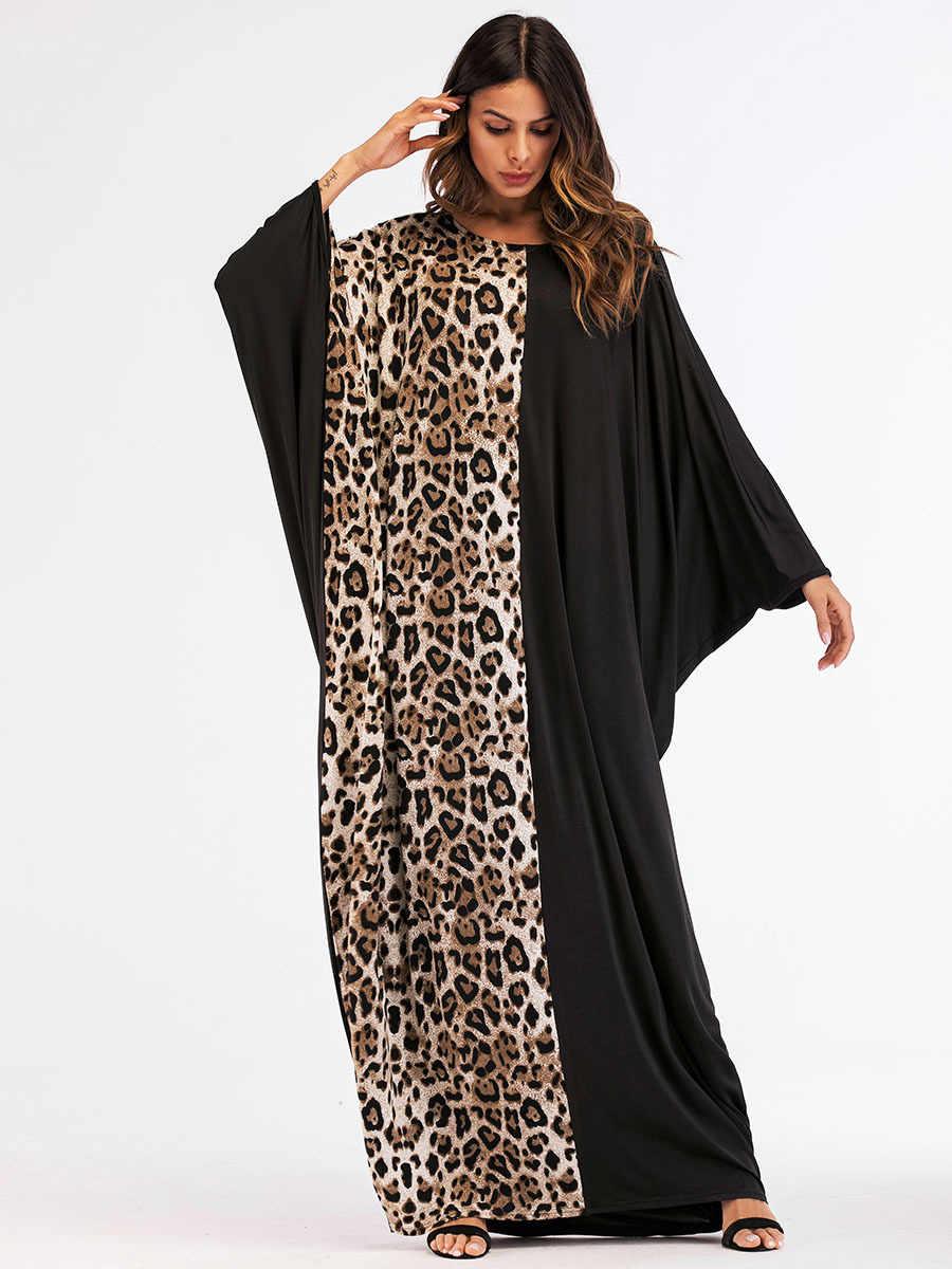 c9f5d36937d4 ... Women Abaya 2018 New Style Muslim Long Dress Leopard Patchwork Dubai  Kaftan Islamic Maxi Dresses Moslim ...