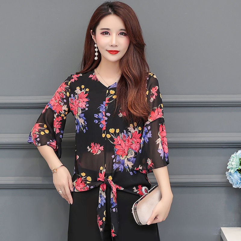 Women Spring Summer Style Chiffon   Blouses     Shirts   Lady Floral Printed Half Flare Sleeve V-Neck Ruffles Blusas Tops DF2665