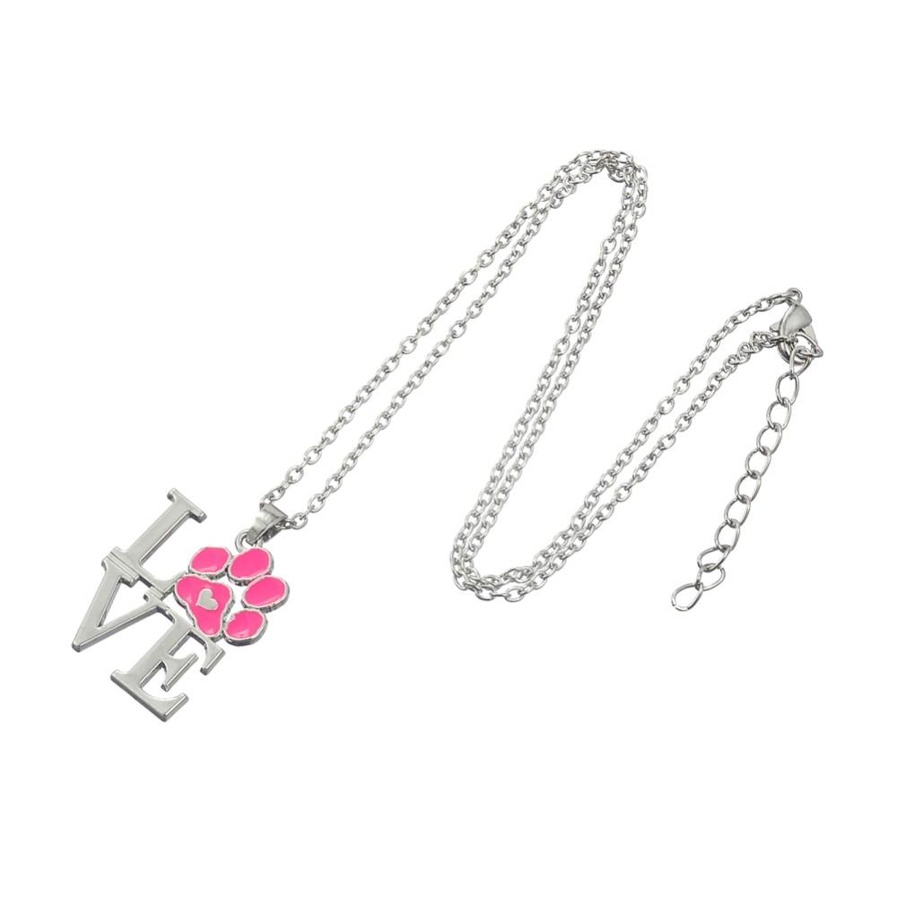 Love Letters Shaped Paw Pendant Necklaces