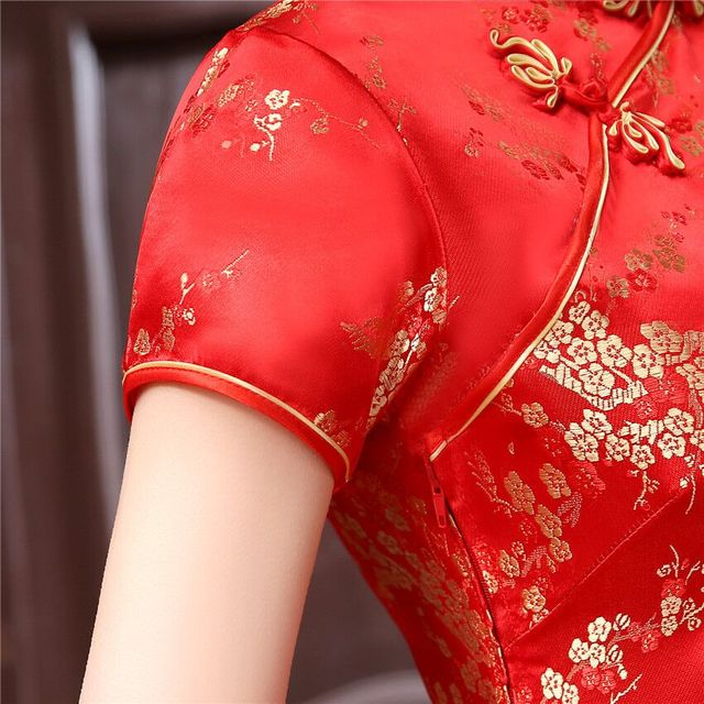 Burgundy #Traditional #Chinese Style #Cheongsam Women's Mini #Qipao #Dress #fashion #boygrl 3