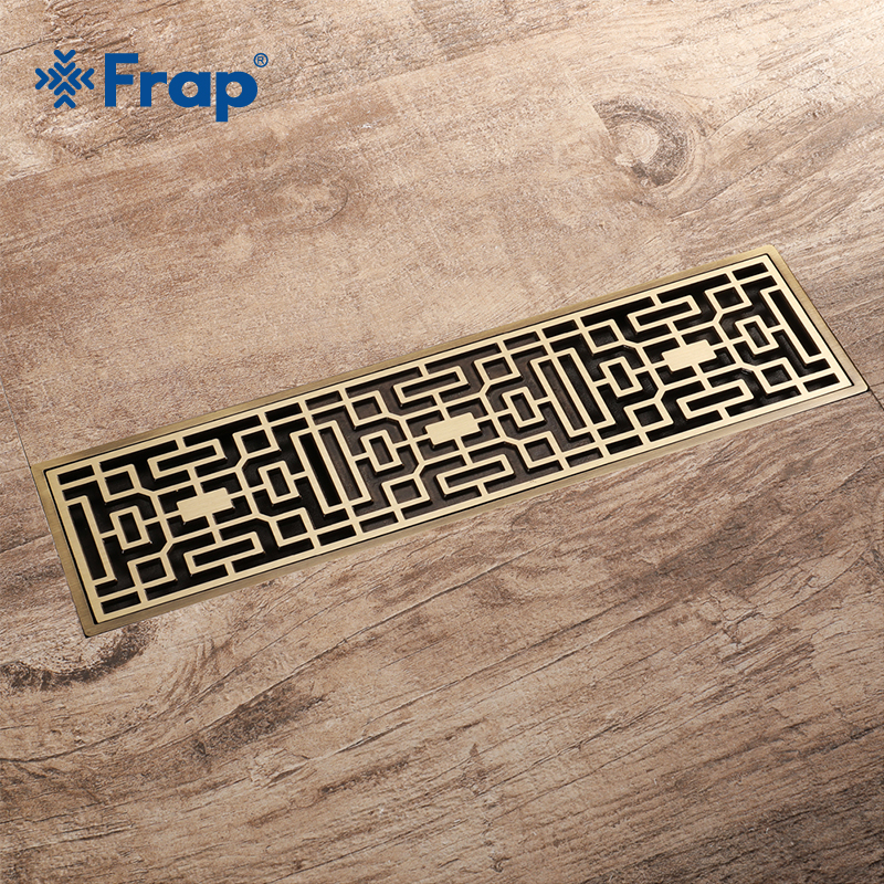 Frap Euro Style Drains Antique Brass Bathroom Linear Shower 8*30cm Floor Drain Wire Strainer Art Carved Cover Waste Drain Y38071 drains 10 10cm antique brass shower floor drain cover euro art carved bathroom deodorant drain strainer waste grate hj 8507s