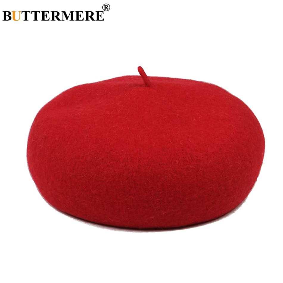 BUTTERMERE Французский Берет женская красная шерсть плоская шляпа женская элегантная теплая зимняя шапка Толстая Повседневная осенне-зимняя Классическая Кепка художника