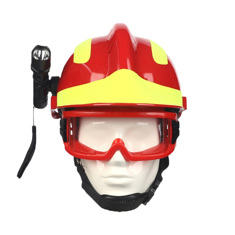 Image 2 - Safety Rescue Helmet Fire Fighter Protective Glasses Safety Helmets Workplace Fire Protection Hard Hat With Headlamp & Goggles-in Safety Helmet from Security & Protection