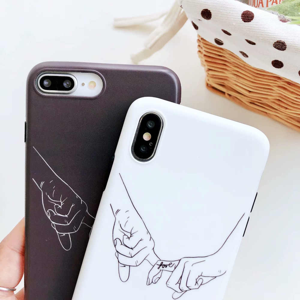 066a70acfe ... IMD White Black Holding hand Couple Silicone Case For iPhone 7 Plus X 8  Plus XS
