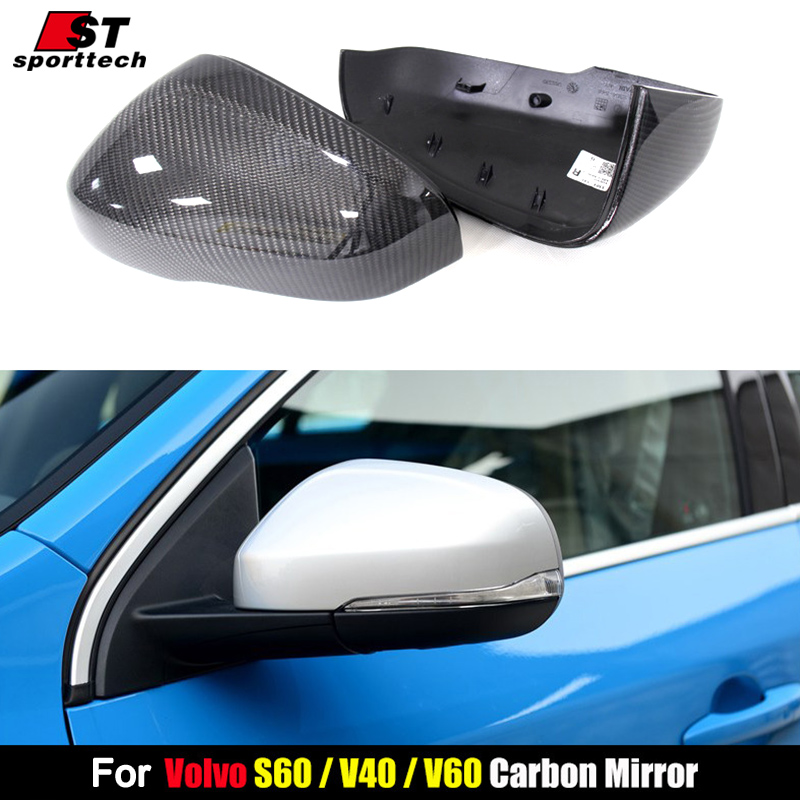 Carbon Fiber Rear View Mirror Cover For For Volvo S60 V40 V60 XC60 S80 2012 2014