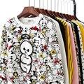 Nuevo 2017 Mujeres Del Otoño Del Resorte Sudaderas Con Capucha de Manga Larga de La Historieta Camisetas de Cuello Alto Flojo Totoro Estilo Impreso Pullover Chándales