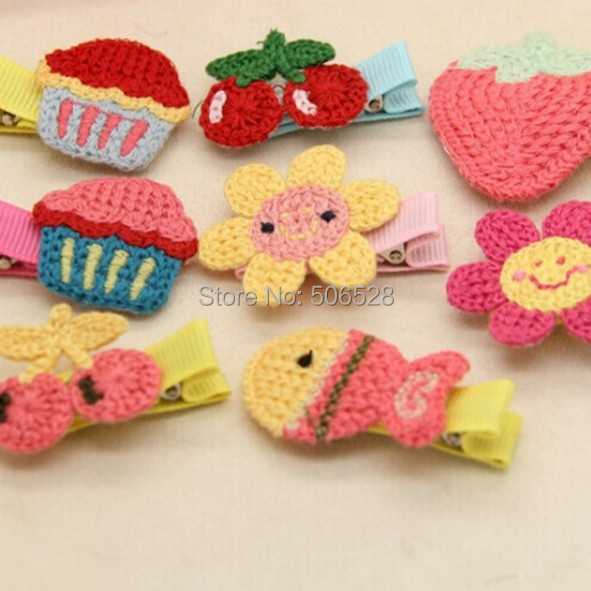 2015 Cute 30PCS Multi Colors Kids Girls Accessories Handmade Animal Tiara  Crochet Hair Clips Jewelry For Baby Girls Barrettes f484a814787d