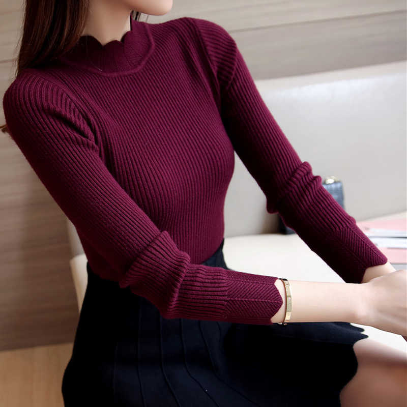 2019 Korean Fashion Women Sweaters and Pullovers Sueter Mujer Ruffled Sleeve Turtleneck Solid Slim Sexy Elastic Women Tops