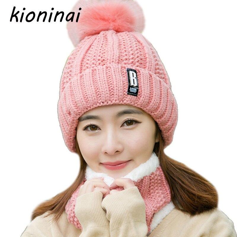Kioninai 2-Pcs Winter Hat Beanie Scarf Neck Warmer Balaclava Cap Skullies  Beanie Hat Women Fur Pom Pom Hats Knitted Caps Female 2ab8c72133