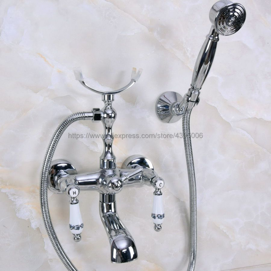 Polished Chrome Wall Mount Tub Faucet with Handshower Telephone Style Wall Mount Dual Handles Bathtub Sink Mixer Taps Bna240Polished Chrome Wall Mount Tub Faucet with Handshower Telephone Style Wall Mount Dual Handles Bathtub Sink Mixer Taps Bna240