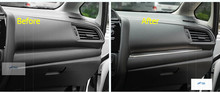 For Honda FIT JAZZ 2014 2015 2016 Stainless Steel Center Console Stripe Decoration Cover Trim 1 pcs