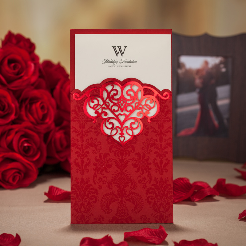 100 pcs red wedding invitation card luxury wedding invitations 100 pcs red wedding invitation card luxury wedding invitations elegant laser cut invitation cards customize personalize free in cards invitations from stopboris Image collections