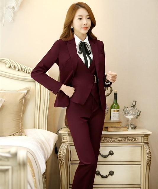 4XL más el Tamaño 2016 Otoño Invierno Profesional Pantsuits Formales de Las Señoras Mujeres Trajes de negocios 3 unidades Con Chaquetas + Pantalones + chaleco