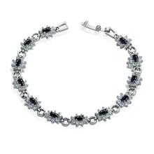 Limber Jewelry Free Shipping New Women's Black Agate Link Chain Tennis Bracelet 8mm 7 inches Bangle